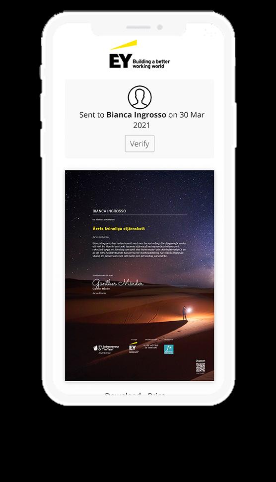 EY digital award in phone